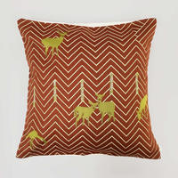 (no pattern backside) snip snap SATOYAMA cushion cover | deer red裏面無地