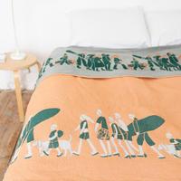 ONDO blanket L |  green × pink