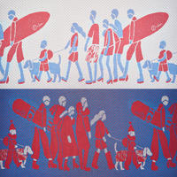 ONDO blanket   blue × red
