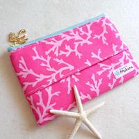 ファスナー付きティッシュポーチ (珊瑚 ピンク)