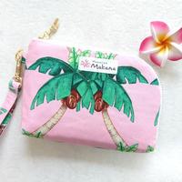 L字コイン&カードケース(ピンク ヤシの木)
