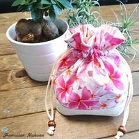 ジュートコラボ巾着(プルメリア ピンク)