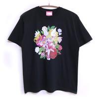 【messa store】プリマピンク フラワーTシャツ-BLACK-