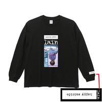 【ekoms】happy suicide ビッグシルエットロングスリーブTシャツ-BLACK-
