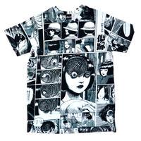 あざみ総柄Tシャツ-P-【WHITE×BLACK】 / T05-4019-WB