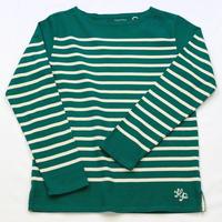 テンジクヤ パネルボーダーTシャツ グリーンXナチュラル(生成り)