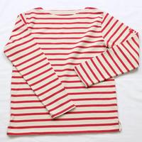 テンジクヤ ボーダーTシャツ ナチュラル(生成り) X レッド