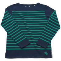 テンジクヤ パネルボーダーTシャツ ネイビー X グリーン