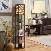 高品質独創的中国風デザインフロアランプ リビング用木製垂直フロアランプ 室内用ランプ