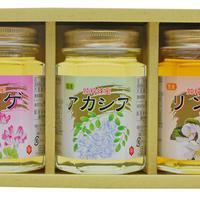 【母の月専用】国産ハチミツ(レンゲ・アカシア・リンゴ)180g×3詰め合わせセット