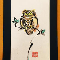 Owl original picture of sumi-e art