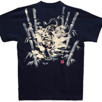 T-shirts men Jumping white tiger  black Japanese sumi-e Art