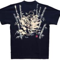 T-shirts men Jumping white tiger  black Japanese sumi-e Art