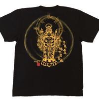 T-shirts men Juichimen Senju Kannon black Buddhist Japanese sumi-e Art
