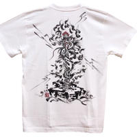 T-shirts men Kurikara Fudo white Buddhist Japanese sumi-e Art