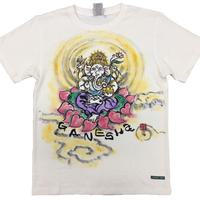 Hemp T-shirts Ganesha FRONT color Japanese sumi-e art Handmade