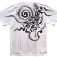 T-shirts men Dragon part1 white Japanese sumi-e Art