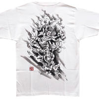 T-shirts men Daiitoku Myo-O white Buddhist Japanese sumi-e Art