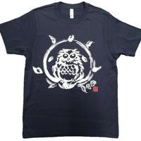 T-shirts men Happy owl  navy Japanese sumi-e Art