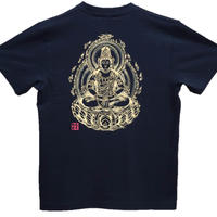 T-shirts men Dainichi-Buddha black Buddhist Japanese sumi-e Art