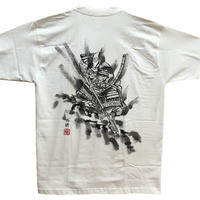 T-shirts men Kiyomasa Kato white Japanese sumi-e Art