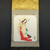 Amenoiwato hokusai hanging scroll shikishi paper