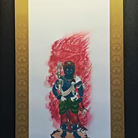 Fudo Myo-O Blue Standing hanging scroll