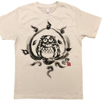 T-shirts men Happy owl white Japanese sumi-e Art