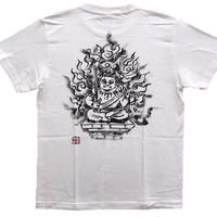 T-shirts men Fudo Myo-O Cute white  Buddhist Japanese sumi-e Art