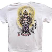 T-shirts men Juichimen Senju Kannon  color Buddhist Japanese sumi-e Art