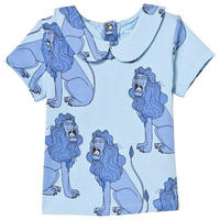 40%OFF!【Mini Rodini】Light Blue Lion Print Tee With Collar(襟付きTシャツ)92