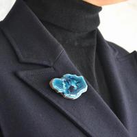 Brooch 'Flower of life' blue green.