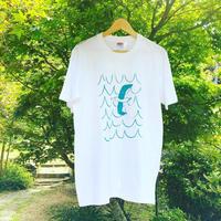 はまぐり堂オリジナル  かもめTシャツ (白×ターコイズブルー)