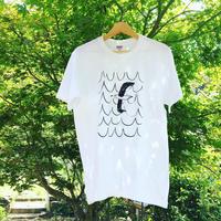 はまぐり堂オリジナル  かもめTシャツ (白×黒)