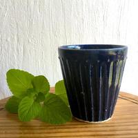 エミシ工房   しのぎフリーカップ(瑠璃色)