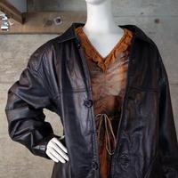Designed Leather Half Coat