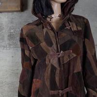 Vintage Designed Suede Leather Duffle Coat