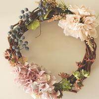 ダリアと紫陽花のリース