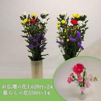 【おまかせ定期便 B+F】お仏壇の花1,620円×2束+暮らしの花mini550円×1束