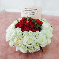 生花デコレーションケーキ 白バラ