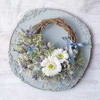 interior wreath *icy blue flower*