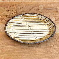 小代焼ふもと窯 スリップ楕円皿