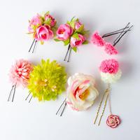 HA-0442 成人式 卒業式 お花 髪飾り 和風オリジナル髪飾り Uピン8本 ピンク 白 緑  垂れ飾り 日本製
