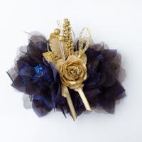 HA-0087 成人式 卒業式 お花 髪飾り 和風オリジナル髪飾り 紺 青 金 ゴールド 日本製