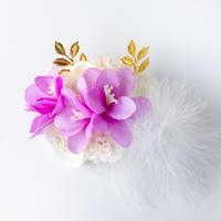 HA-0315 成人式 卒業式 お花 髪飾り 和風オリジナル髪飾り 白 紫 金 ファー ゴージャス 日本製