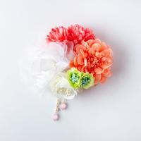 HA-0251 成人式 卒業式 お花 髪飾り 和風オリジナル髪飾り ピンク 白 オレンジ 緑 垂れ飾り 日本製