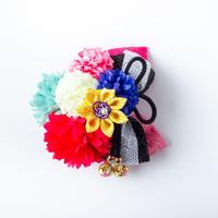 HA-0518 成人式 卒業式 お花 髪飾り 和風オリジナル髪飾り ピンク 黒 ペパーミント 赤 型押し リボン 日本製