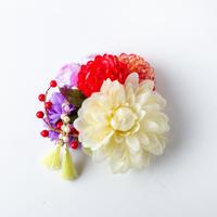 HA-0336 成人式 卒業式 お花 髪飾り 和風オリジナル髪飾り ベージュ 赤 紫 6種類の花 南天の実 日本製