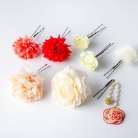 HA-0433 成人式 卒業式 お花 髪飾り 和風オリジナル髪飾り Uピン8本 赤 ベージュ ピンク 水引細工 垂れ飾り日本製