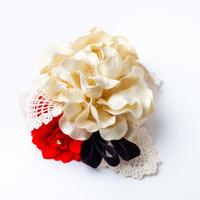HA-0166 成人式 卒業式 お花 髪飾り 和風オリジナル髪飾り 白 ベージュ 赤 黒 レース 小ぶり 日本製